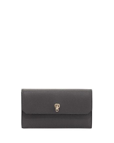 Medium Textured Leather Wallet, Gray