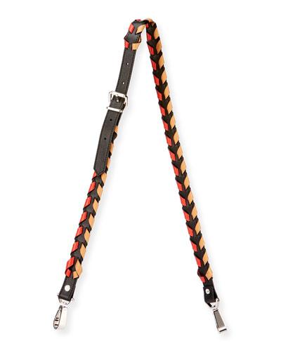Whipstitched Leather Strap for Handbag, Black/Multi