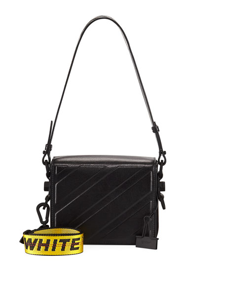 Diagonal Leather Flap Shoulder Bag