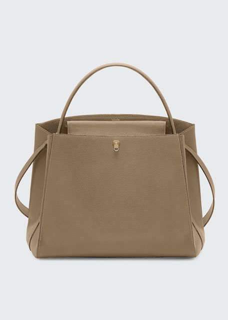 Triennale Large Leather Top-Handle Bag, Beige