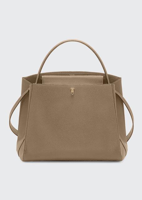 Triennale Large Leather Top-Handle Bag, Beige