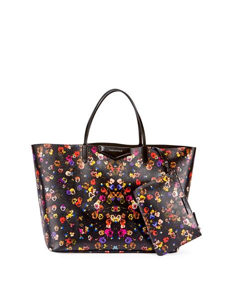 Antigona Large Pansy-Print Shopper Tote Bag