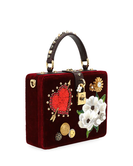 Dolce Heart & Flower Shoulder Bag, Dark Red