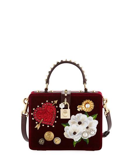 Dolce Heart & Flower Shoulder Bag, Dark Red