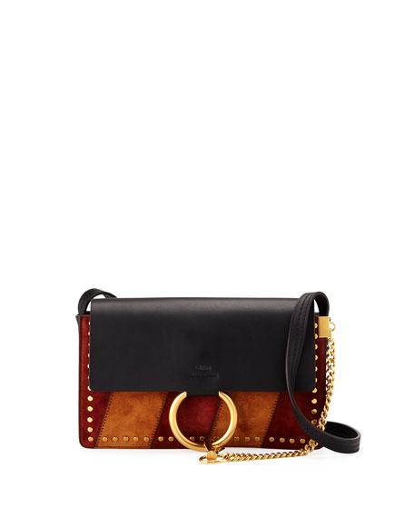 Chloe Faye Small Patchwork Shoulder Bag, Black