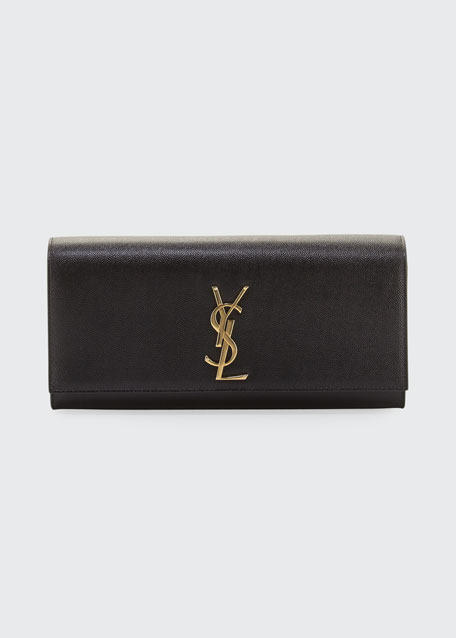 Monogram YSL Grained Calfskin Clutch Bag, Black
