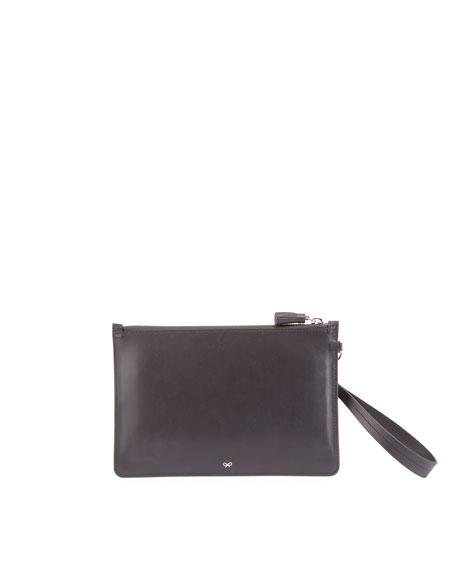 Suede Glitter Sticker Zip Pouch Bag, Charcoal