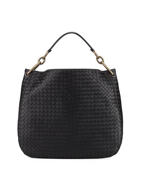 Large Loop Intrecciato Leather Shoulder Hobo Bag