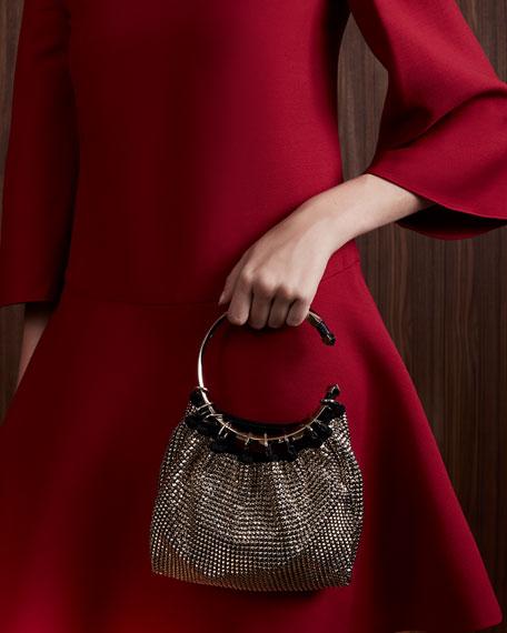 Bebop Ring Loop-Handle Clutch Bag, Gold