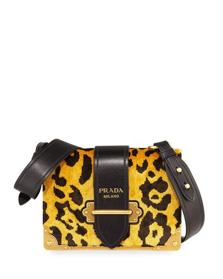 Cahier Small Velvet Shoulder Bag, Leopard
