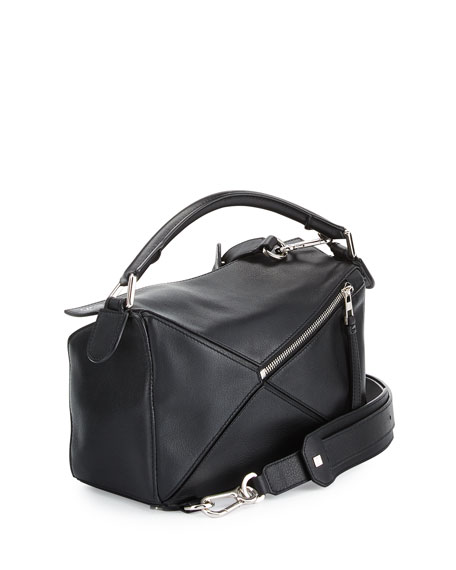 Small Calfskin Puzzle Bag, Black