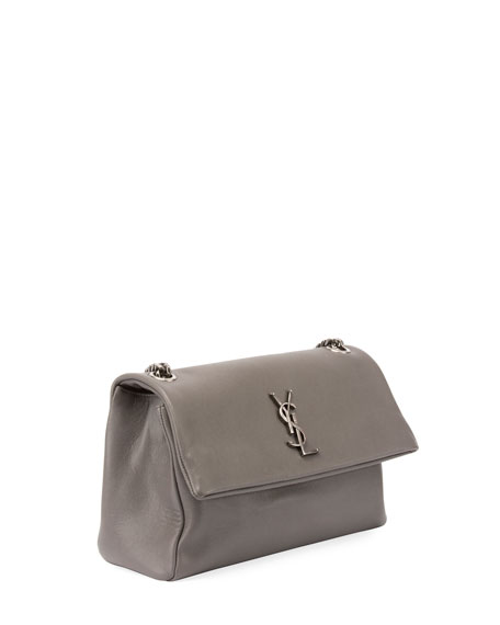"West Hollywood Monogram Shoulder Bag, 7.1"", Light Gray"