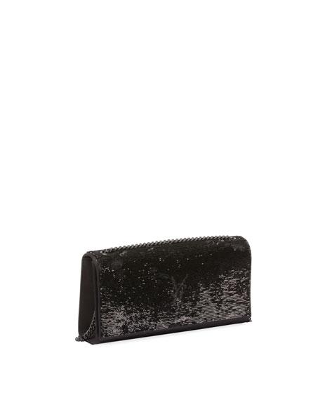 Monogram Kate Medium Paillette-Embroidered Shoulder Bag, Black