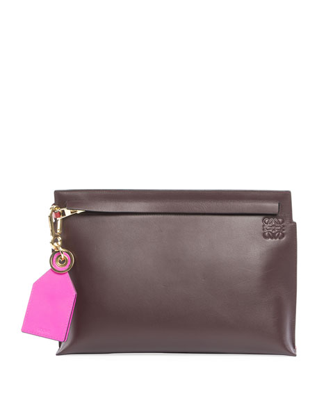 T Pouch Leather Clutch Bag, Red