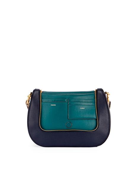 Vere Satchel Bag w/ Python Strap, Blue