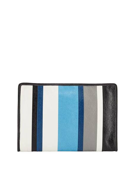 Bazar Striped Leather Pouch