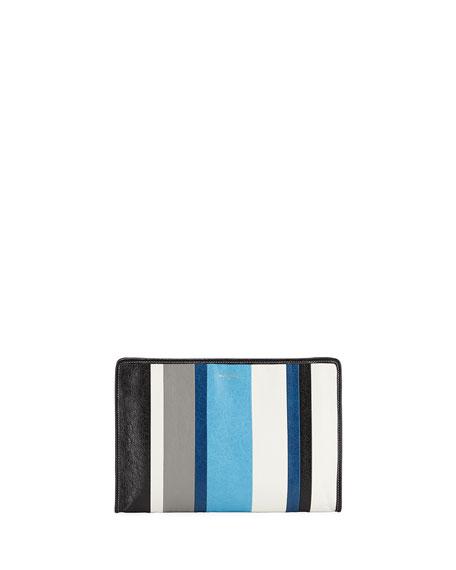 Balenciaga Bazar Striped Leather Pouch