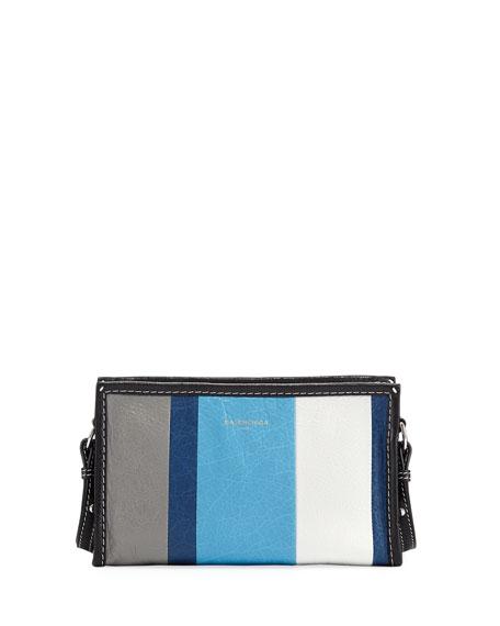 Bazar Colorblock Leather Shoulder Bag, Blue