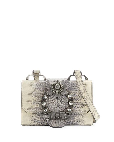 Lady Jeweled Leather Shoulder Bag, Animal Print