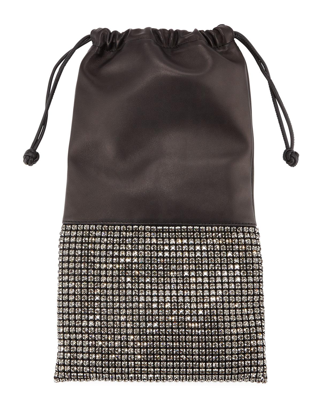 Ryan Crystal Studded Drawstring Pouch Bag