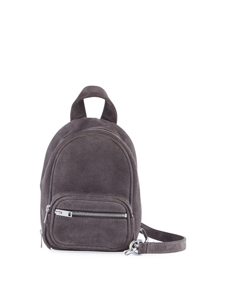 Attica Mini Suede Crossbody Bag, Gray/Brown