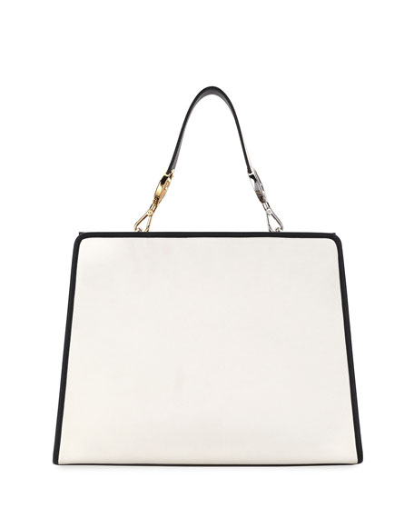 Runaway Medium Two-Tone Leather Tote Bag