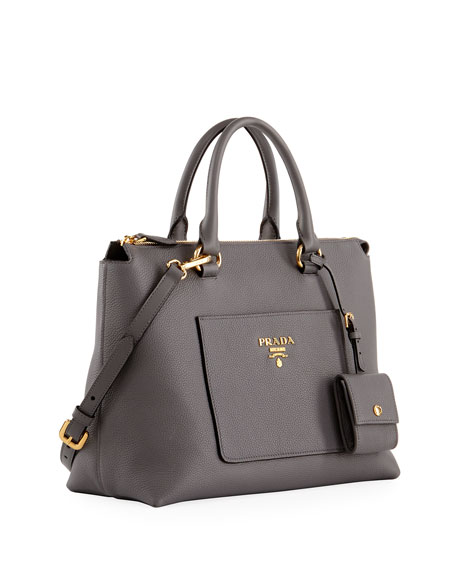 Vitello Daino Zip Pebbled Leather Tote Bag, Gray