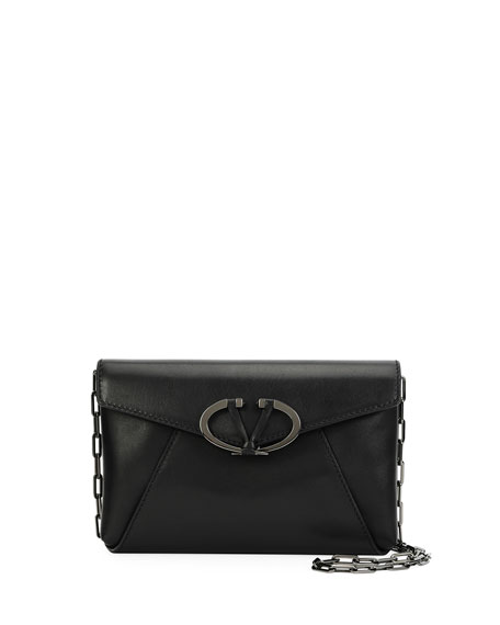 V Rivet Leather Chain Clutch Bag, Black