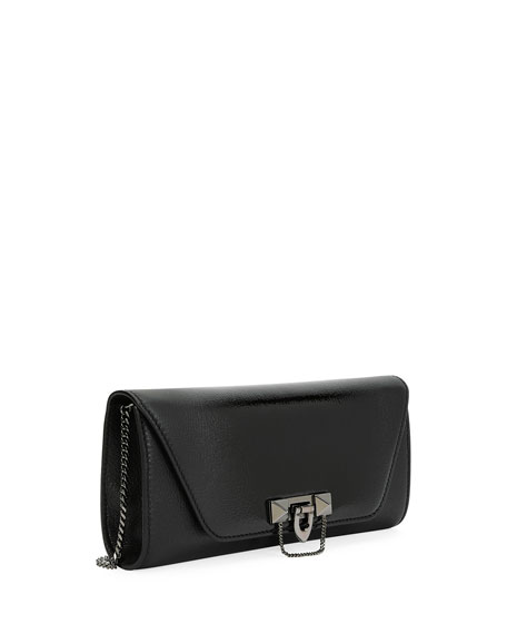 Demilune Clutch Bag with Strap, Black