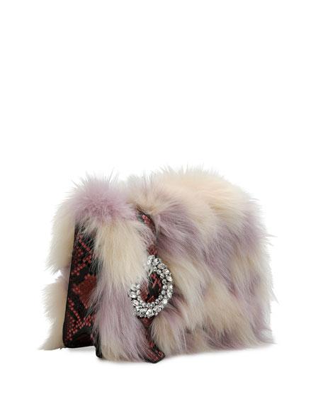 Jeweled Fox Fur & Python Clutch Bag
