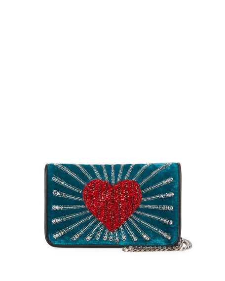 Ginny Beaded Heart Clutch Bag