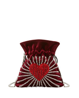 Trilly Heart Velvet Shoulder Bag