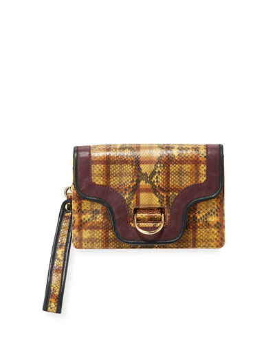 Uptown Plaid Python Clutch Bag
