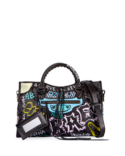 Classic City Graffiti Tote Bag, Black (Noir)