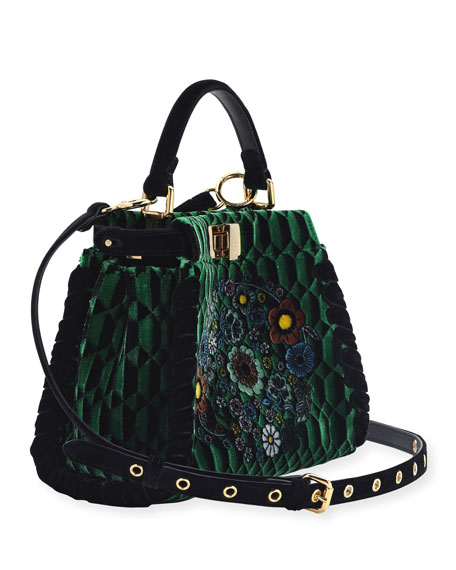 Peekaboo Mini Floral Velvet Satchel Bag