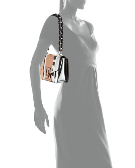 Hava Patchwork Metallic Chain Shoulder Bag