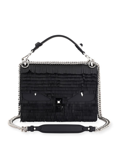 FENDI Small Kan I Fringe Monster Calfskin Shoulder Bag - Black, Black/Silver