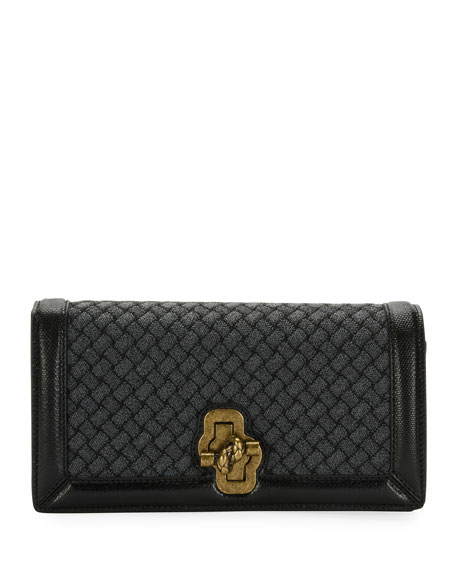 Bottega Veneta Olimpia Intrecciato Wool Clutch Bag