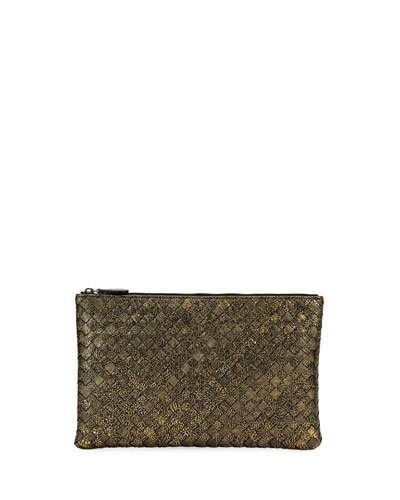 Metallic Intrecciato Zip Pouch Bag/Cosmetics Case