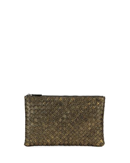 Bottega Veneta Metallic Intrecciato Zip Pouch Bag/Cosmetics Case