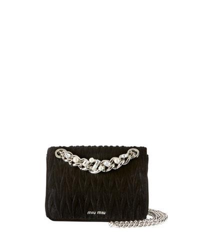 Velvet Matelasse Chain Shoulder Bag