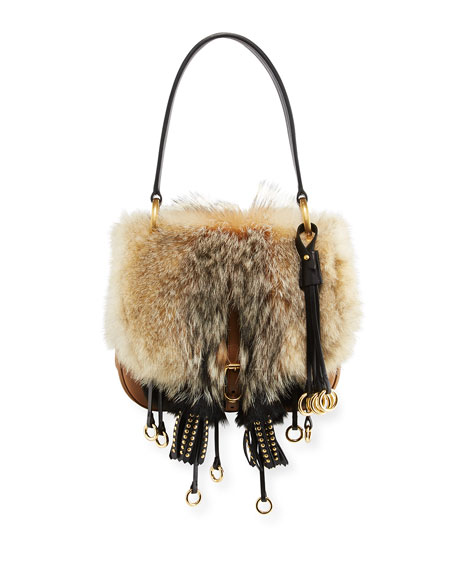 Crosaire Fox Fur Flap-Top Shoulder Bag