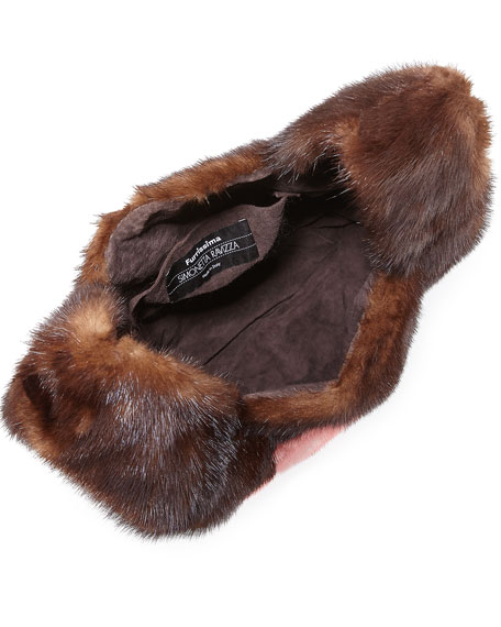 Furrissima Flower-Print Mink Fur Bag, Brown