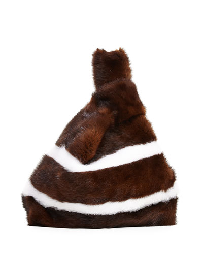 Furrissima Striped Mink Fur Bag, Brown