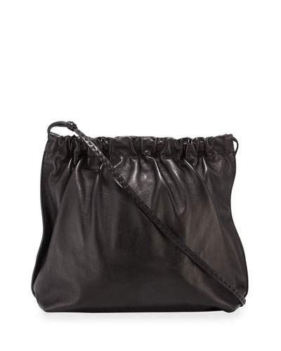 Wander Ruched Leather Shoulder Bag
