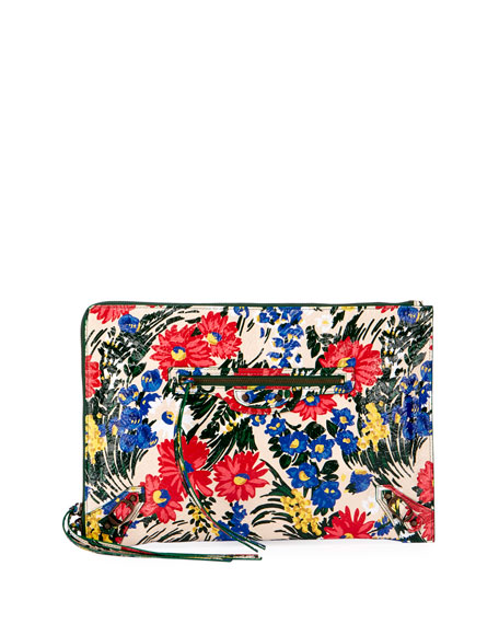 Classic Flat Zip Pouch, Floral Print