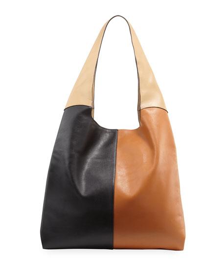 Grand Colorblock Leather Shopper Tote Bag