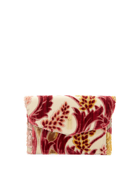 Hayward Bobby Cremisi Velvet Brocade Clutch Bag