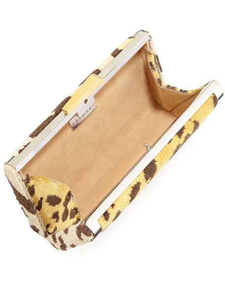 Venetian Leopard Brocade Slim Box Clutch Bag