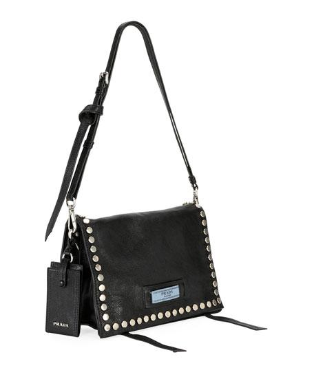 Prada Small Studded Glace Calf Etiquette Shoulder Bag vixdF7Sj6Z
